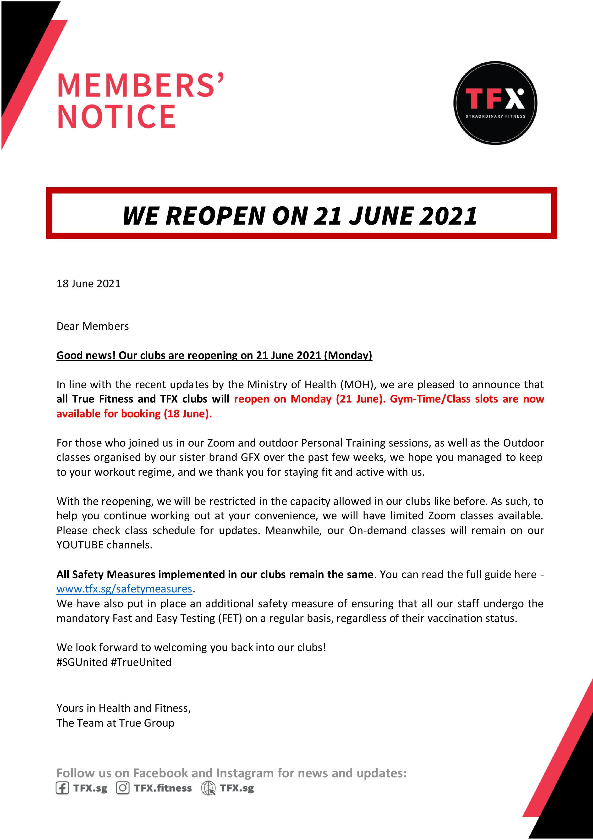 We Reopen on 21 June!