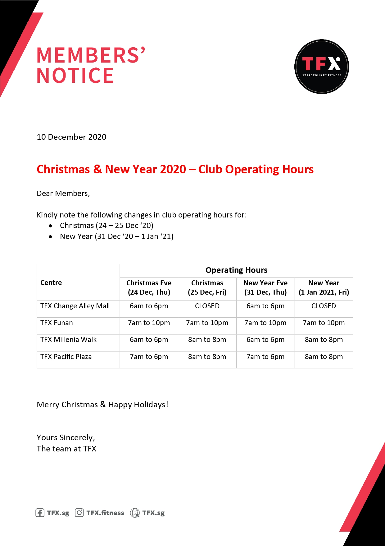 Christmas & New Year Operating Hours