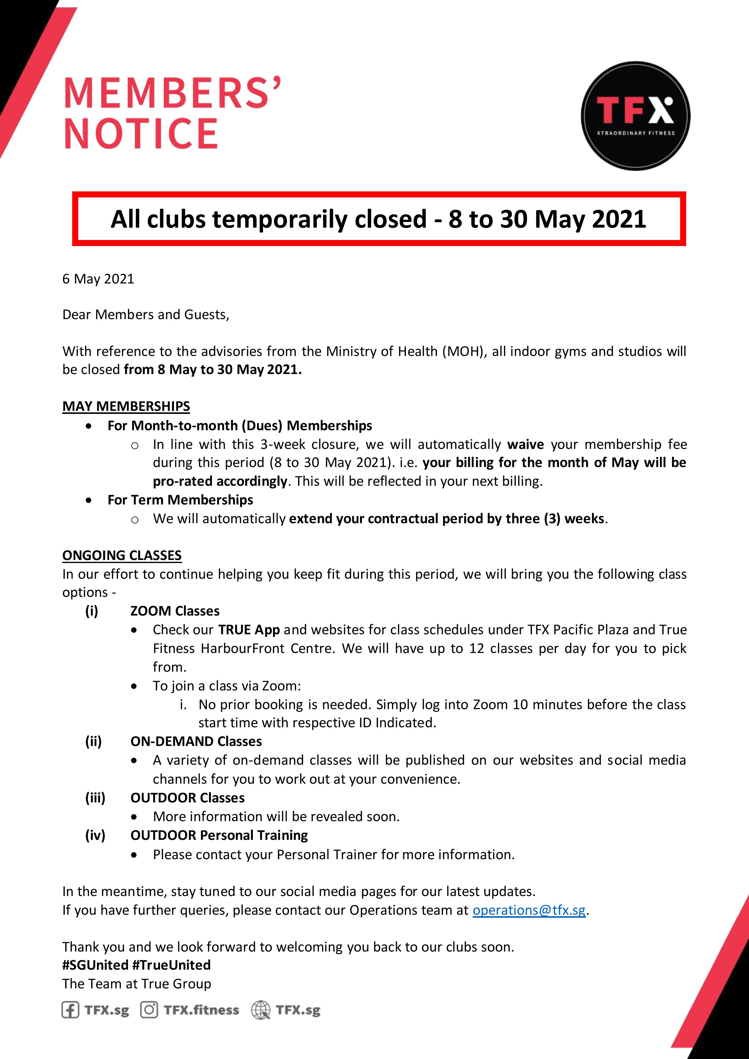 Clubs temporary closed - 8 to 30 May 2021