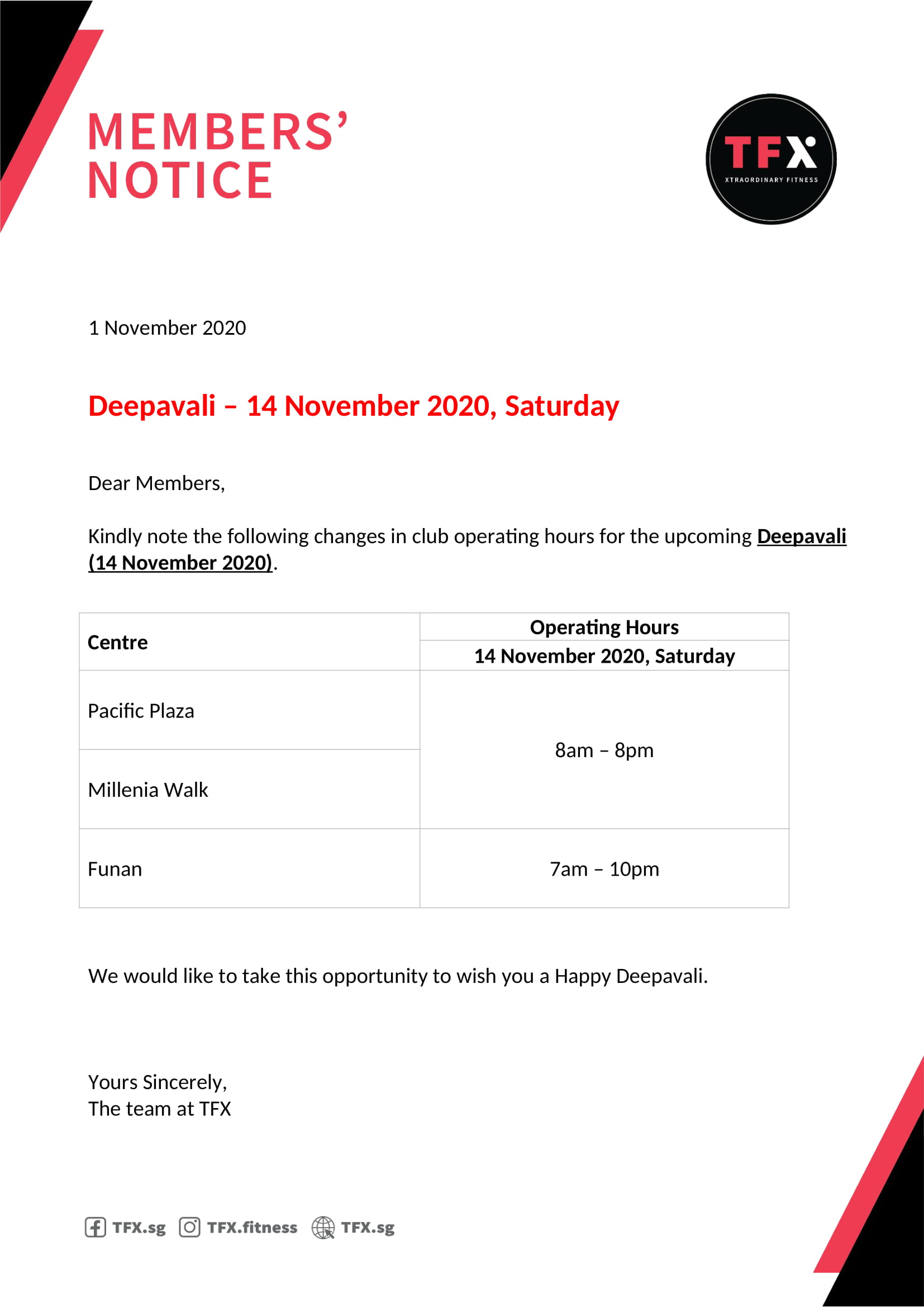 Deepavali 2020 Operation Hours