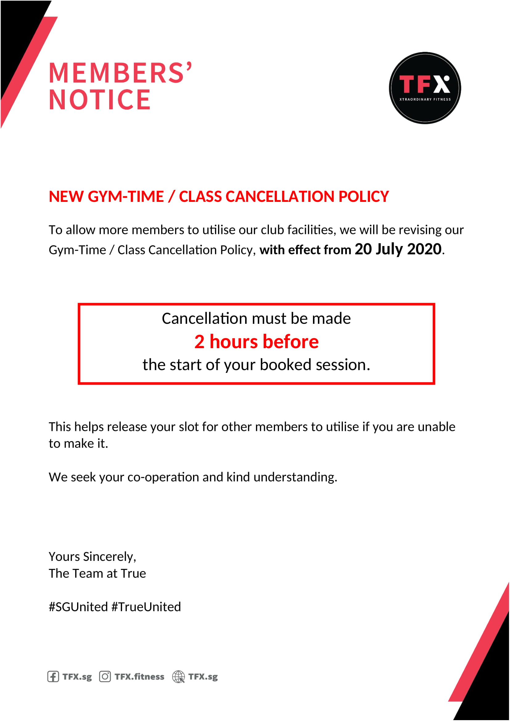 New Class Cancellation Policy