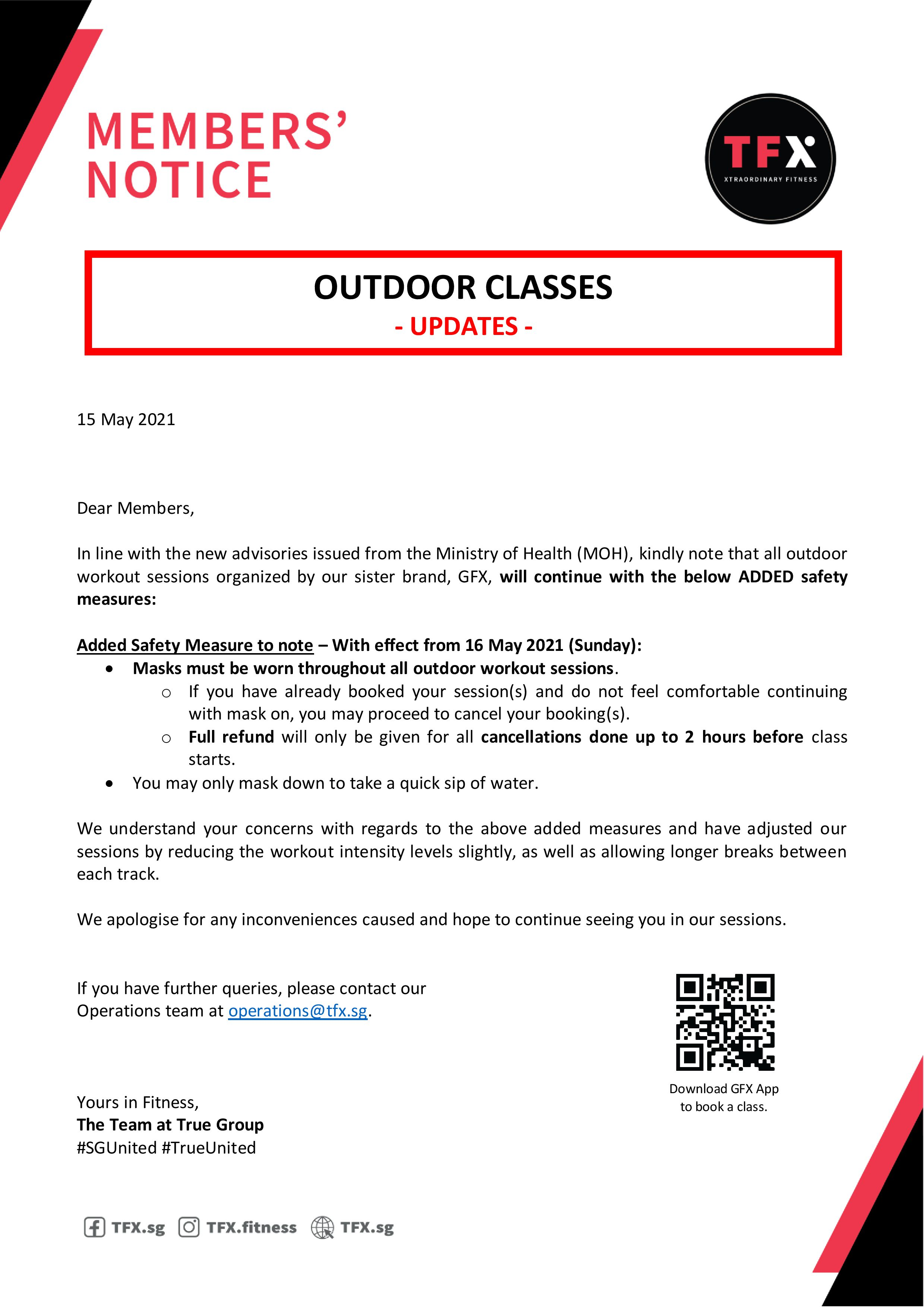 Updates to Outdoor Classes organised by GFX