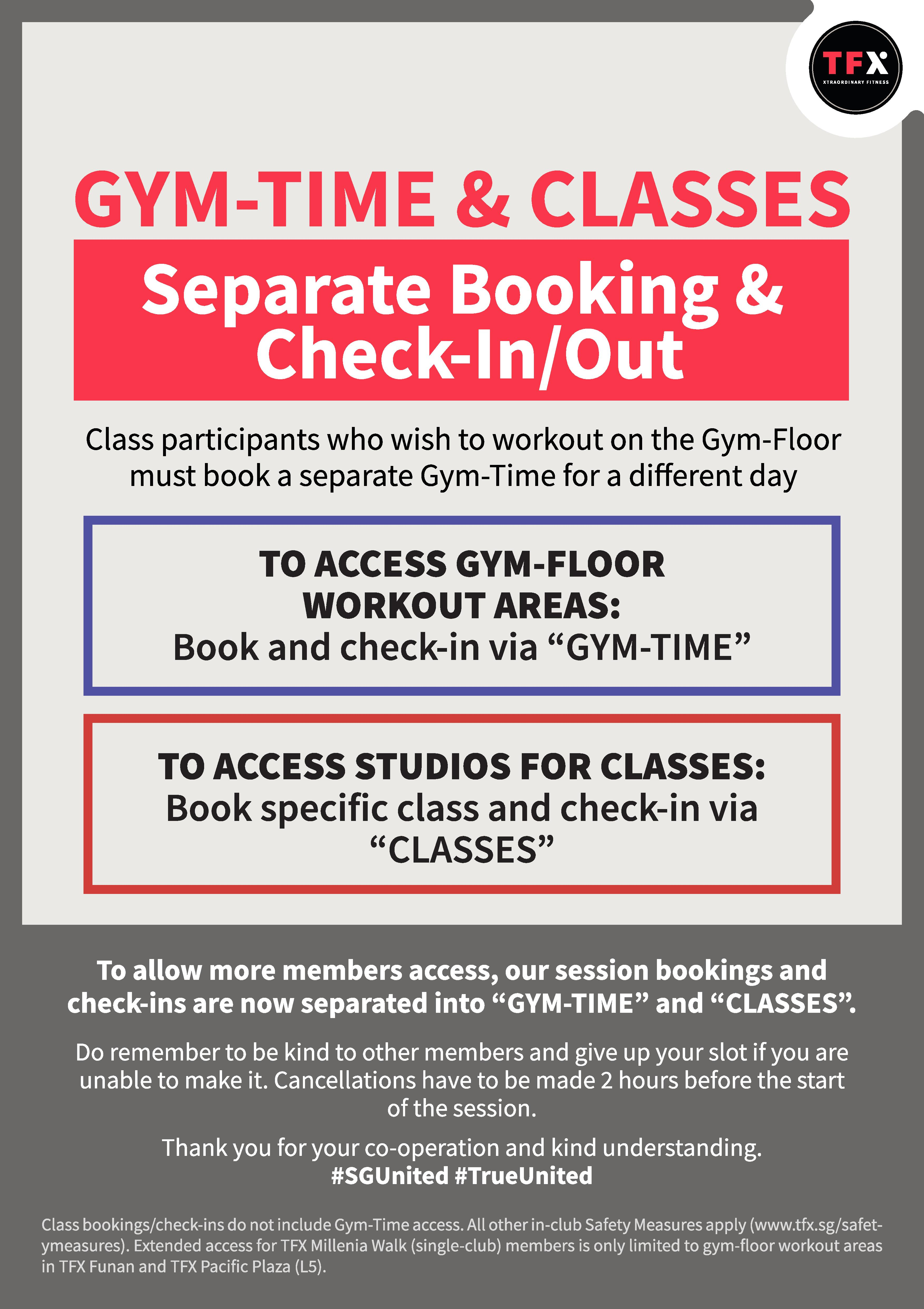 GYM-TIME & CLASSES: Separate Booking & Check-In/Out