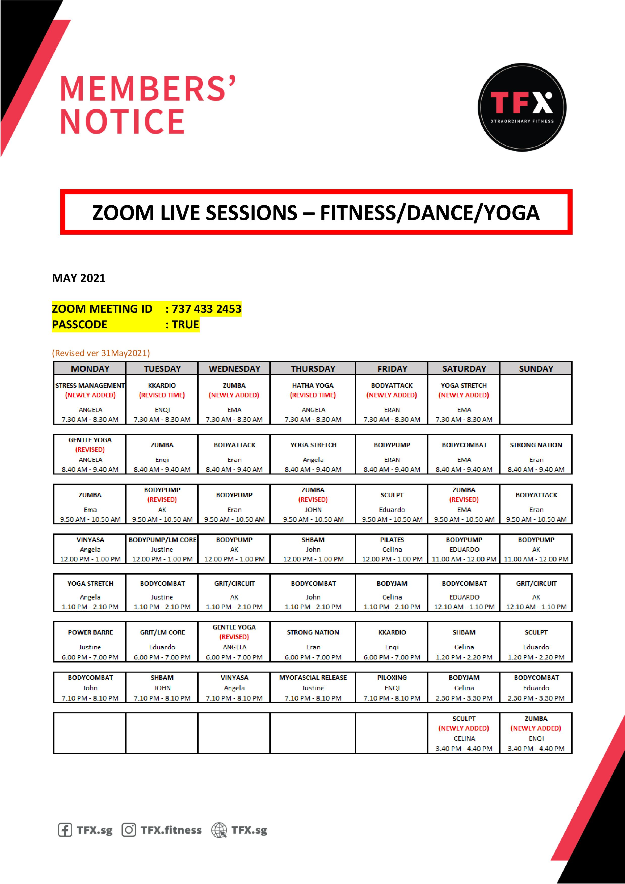 Zoom schedule - GroupX classes (May) (Revision 31 May)