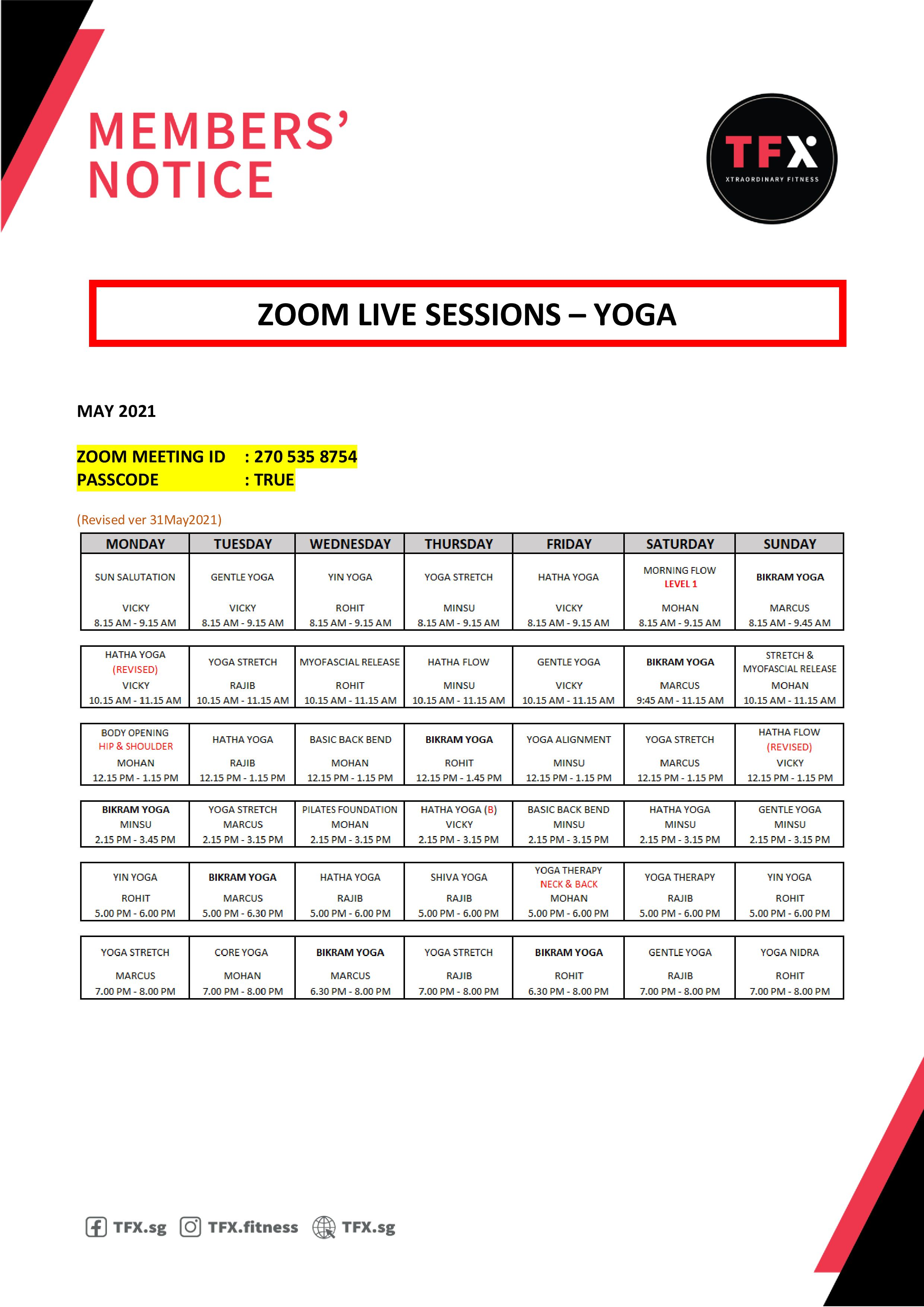 Zoom schedule - Yoga classes (May) (Revision 31 May)