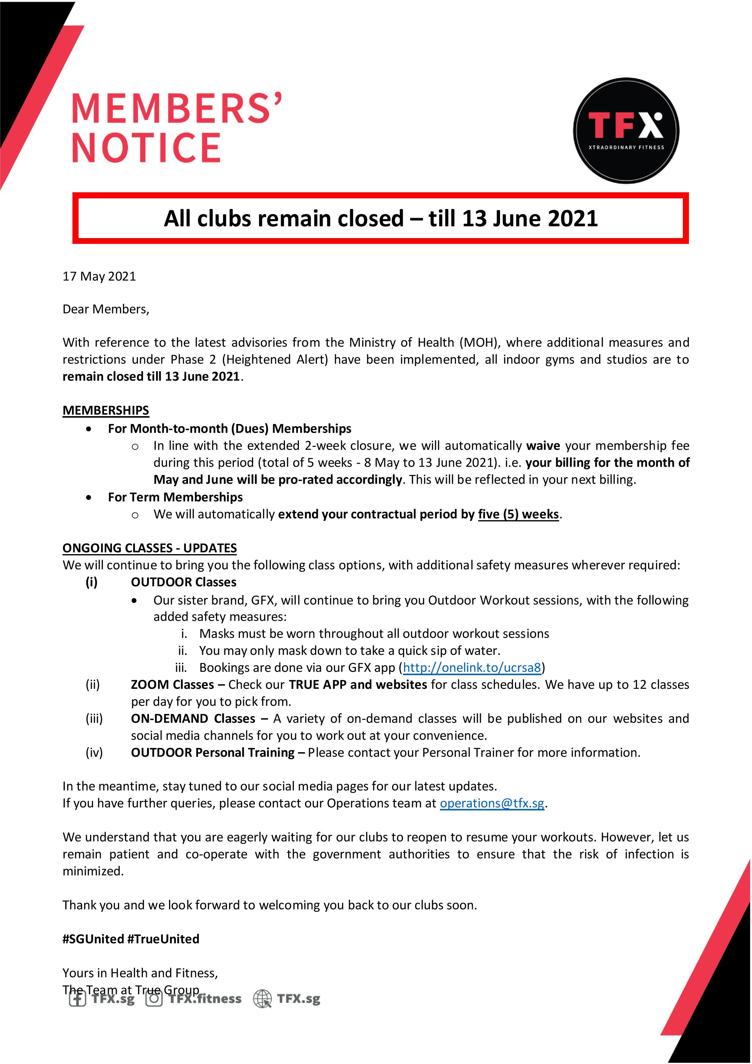 Clubs temporary closed - Till 13 June 2021